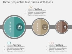 Three Sequential Text Circles With Icons Powerpoint Template
