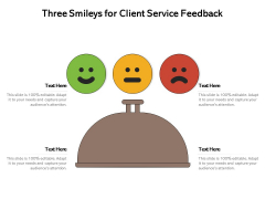 Three Smileys For Client Service Feedback Ppt PowerPoint Presentation Styles Ideas PDF
