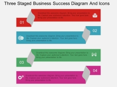 Three Staged Business Success Diagram And Icons Powerpoint Template