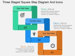 Three Staged Square Step Diagram And Icons Powerpoint Template