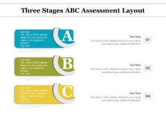 Three Stages ABC Assessment Layout Ppt PowerPoint Presentation Infographic Template Templates PDF
