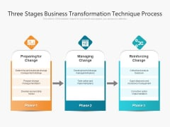 Three Stages Business Transformation Technique Process Ppt PowerPoint Presentation File Styles PDF