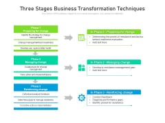 Three Stages Business Transformation Techniques Ppt PowerPoint Presentation File Deck PDF