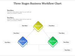 Three Stages Business Workflow Chart Ppt PowerPoint Presentation File Themes PDF