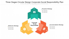 Three Stages Circular Design Corporate Social Responsibility Plan Ppt PowerPoint Presentation Gallery Designs PDF