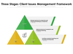 Three Stages Client Issues Management Framework Ppt PowerPoint Presentation File Inspiration PDF