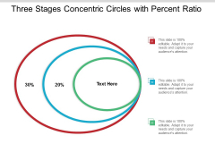 Three Stages Concentric Circles With Percent Ratio Ppt Powerpoint Presentation Gallery Clipart