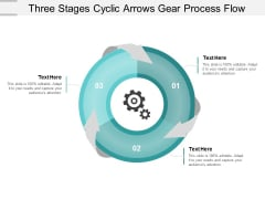 Three Stages Cyclic Arrows Gear Process Flow Ppt Powerpoint Presentation Gallery Graphics Design