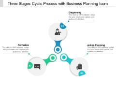 Three Stages Cyclic Process With Business Planning Icons Ppt Powerpoint Presentation Ideas Designs Download