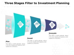 Three Stages Filter To Investment Planning Ppt PowerPoint Presentation Model Background Designs PDF