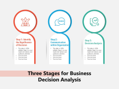 Three Stages For Business Decision Analysis Ppt PowerPoint Presentation Infographics Influencers PDF