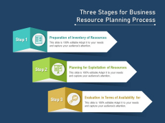Three Stages For Business Resource Planning Process Ppt PowerPoint Presentation Infographics Example PDF