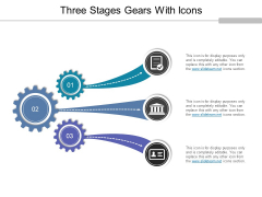 Three Stages Gears With Icons Ppt PowerPoint Presentation Summary Vector