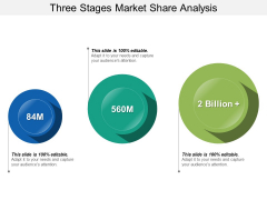 Three Stages Market Share Analysis Ppt PowerPoint Presentation Summary Grid