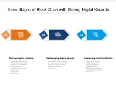 Three Stages Of Block Chain With Storing Digital Records Ppt PowerPoint Presentation Gallery Background Designs PDF
