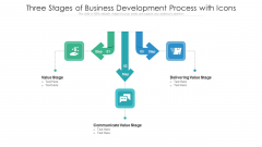Three Stages Of Business Development Process With Icons Ppt PowerPoint Presentation File Slideshow PDF
