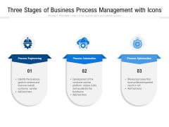 Three Stages Of Business Process Management With Icons Ppt PowerPoint Presentation File Graphics Pictures PDF