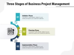 Three Stages Of Business Project Management Ppt PowerPoint Presentation Summary Slideshow PDF