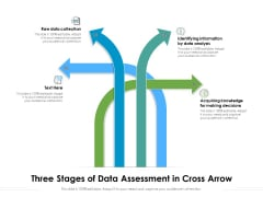 Three Stages Of Data Assessment In Cross Arrow Ppt PowerPoint Presentation Infographic Template Pictures PDF