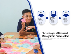 Three Stages Of Document Management Process Flow Ppt PowerPoint Presentation Gallery Deck PDF