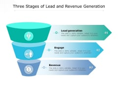 Three Stages Of Lead And Revenue Generation Ppt PowerPoint Presentation Inspiration Clipart PDF