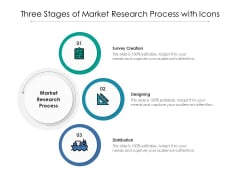 Three Stages Of Market Research Process With Icons Ppt PowerPoint Presentation Pictures Template PDF