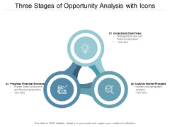 Three Stages Of Opportunity Analysis With Icons Ppt PowerPoint Presentation Icon Backgrounds