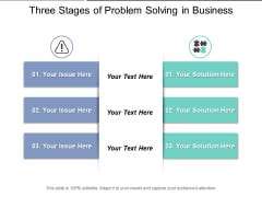 Three Stages Of Problem Solving In Business Ppt PowerPoint Presentation Gallery Display PDF