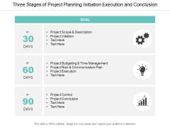 Three Stages Of Project Planning Initiation Execution And Conclusion Ppt PowerPoint Presentation Pictures Gridlines