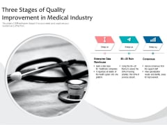 Three Stages Of Quality Improvement In Medical Industry Ppt PowerPoint Presentation Styles Files PDF