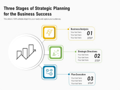 Three Stages Of Strategic Planning For The Business Success Ppt PowerPoint Presentation Infographic Template Objects PDF