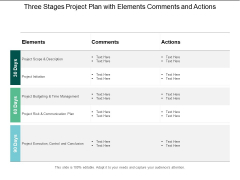Three Stages Project Plan With Elements Comments And Actions Ppt PowerPoint Presentation Portfolio Themes