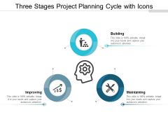 Three Stages Project Planning Cycle With Icons Ppt Powerpoint Presentation Portfolio Display