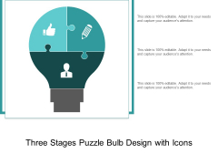 Three Stages Puzzle Bulb Design With Icons Ppt PowerPoint Presentation Professional Picture