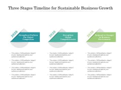 Three Stages Timeline For Sustainable Business Growth Ppt PowerPoint Presentation Infographics Infographics