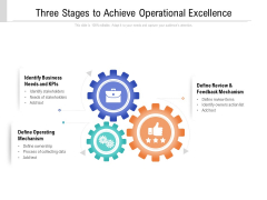 Three Stages To Achieve Operational Excellence Ppt PowerPoint Presentation Gallery Designs PDF