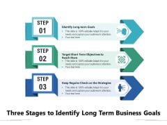 Three Stages To Identify Long Term Business Goals Ppt PowerPoint Presentation Professional Infographic Template PDF