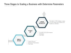 Three Stages To Scaling A Business With Determine Parameters Ppt PowerPoint Presentation Professional Format Ideas