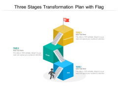 Three Stages Transformation Plan With Flag Ppt PowerPoint Presentation Layouts Model PDF