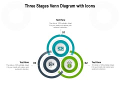 Three Stages Venn Diagram With Icons Ppt PowerPoint Presentation Ideas Skills