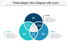 Three Stages Venn Diagram With Icons Ppt PowerPoint Presentation Layouts Show