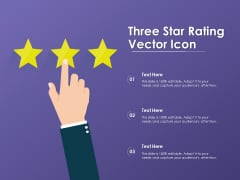 Three Star Rating Vector Icon Ppt PowerPoint Presentation Infographics Master Slide