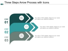 Three Steps Arrow Process With Icons Ppt PowerPoint Presentation Pictures Picture
