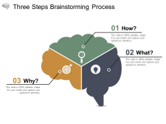 Three Steps Brainstorming Process Ppt PowerPoint Presentation Layouts Icons
