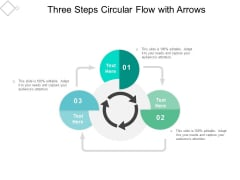 Three Steps Circular Flow With Arrows Ppt Powerpoint Presentation Icon Templates