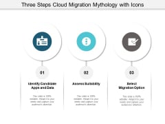 Three Steps Cloud Migration Mythology With Icons Ppt PowerPoint Presentation Professional Elements