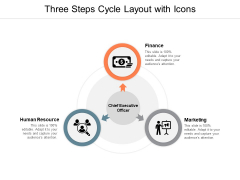 Three Steps Cycle Layout With Icons Ppt PowerPoint Presentation Ideas Gallery