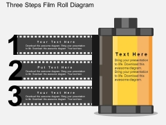 Three Steps Film Roll Diagram Powerpoint Template