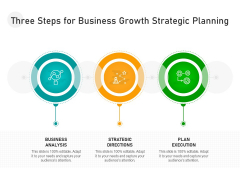 Three Steps For Business Growth Strategic Planning Ppt PowerPoint Presentation File Background PDF