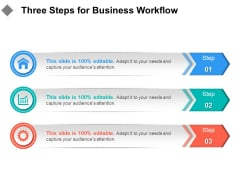 Three Steps For Business Workflow Ppt PowerPoint Presentation Layouts Display